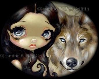 Silver Eyed Wolf dog familiar fairy art print by Jasmine Becket-Griffith 8x10