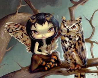 Owlyn great horned owl feather fairy art print by Jasmine Becket-Griffith12x16 BIG