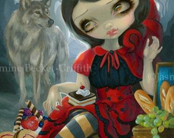 Red Riding Hood's Picnic fairytale wolf werewolf fairy art print by Jasmine Becket-Griffith 8x10