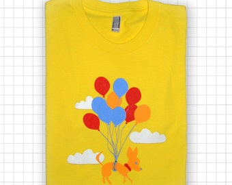 SALE Chihuahua Flying With Balloons Amercian Apparel T-shirt