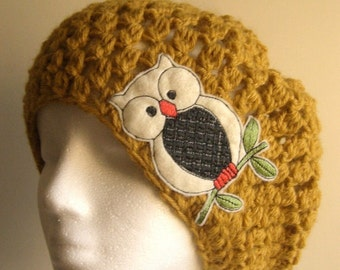 Mustard Yellow Slouchy Beanie Crocheted Hat with Owl, womens hat, accessories, owl patch, embroidery patch