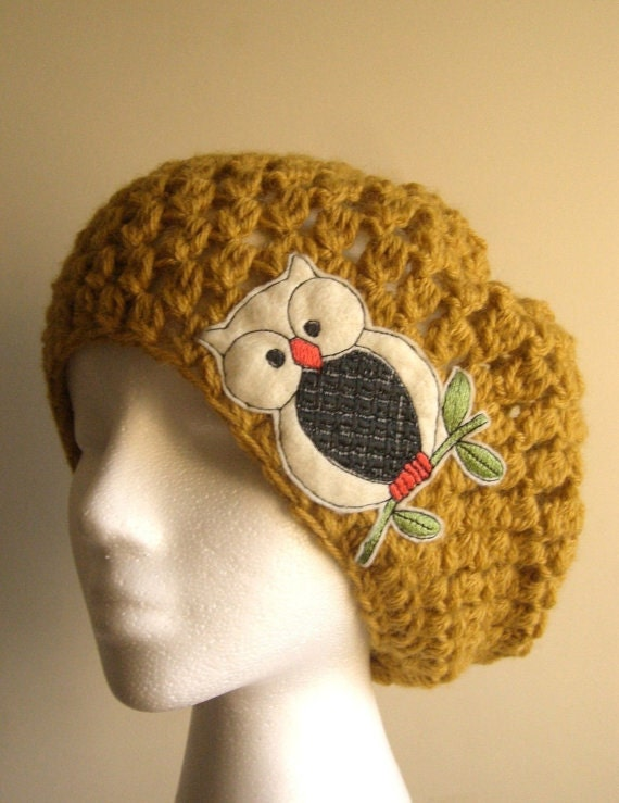 mustard yellow slouchy beanie crocheted hat with owl womens