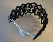 Dainty Black Tatted Cuff Bracelet with Silver Heart Toggle Closure