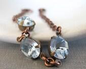 Rhinestone Bracelet, Blue Bracelet, Sapphire Jewel, Copper Chain, Chain Bracelet, Vintage Glass, Copper Bracelet, Light Sapphire Blue - fiveforty