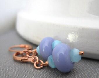 Glass Earrings, Copper Earrings, Lavender Glass, Pale Sky Blue, Lampwork Earrings, Handmade Earrings, Dangle Earrings, Copper Jewelry