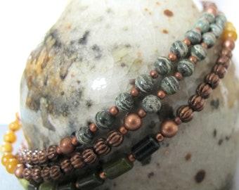Gemstone Necklace, Ricolite, Green Jade, Zebra Jasper, Yellow Jasper, Copper Necklace, Beaded Jewelry,