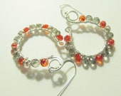Orange and Black Diamond Crystal Sterling Silver Wire Wrapped Gemstone Earrings