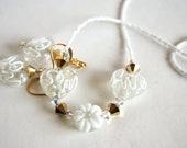 Swarovski Crystal White Heart Flower Lampwork Beaded Necklace Matching Earrings