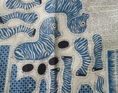 END of  SUMMER SALE vintage remnant fabric cut-out zebra stuft toy fabric
