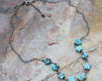 TURQUOISE necklace, STAR necklace, DECEMBER Birthstone, December birthday, carved Turquoise necklace, sterling silver