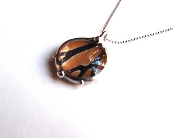 Real Butterfly Jewelry - Little Bubble Pendant - Monarch Butterfly