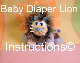 Do it yourself instructions baby Diaper Lion. GR8 baby shower diaper cake topper. New baby keepsake. Jungle theme.