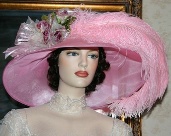 Ascot Hat Kentucky Derby Hat Wide Brim Tea Hat Titanic Hat Somewhere in Time Hat Downton Abbey Hat Edwardian Hat Pink - Run for the Roses