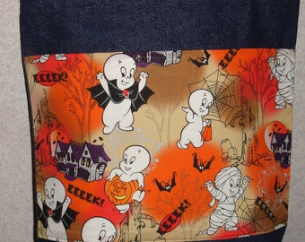 New Medium Denim Tote Bag Handmade with Casper Ghost Halloween Og Fabric