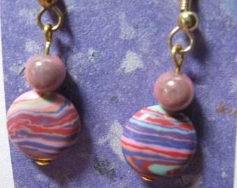Pink Purple Swirl Bead Earrings