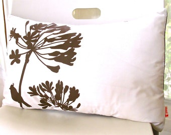 Limited Time Sale Brown Print on Off White Cotton Cardinal on Agapanthus Rectangle Pillow