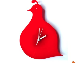 Red Quail Wall Hanging Clock