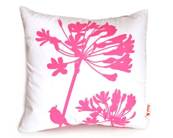Hot Pink Print on Off-White Cardinal on Agapanthus-Mini 10.5 Inches Square Pillow