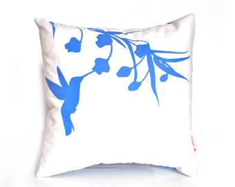 Royal Blue Print on White Cotton Hummingbird with Eucalyptus - Mini 10.5 Inches Square Pillow