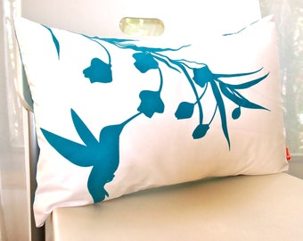 Teal Print on Off White Cotton Hummingbird with Eucalyptus Rectangle Pillow
