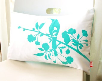 Limited time sale Mint Green on Off White Blooming Blossom Rectangle Pillow