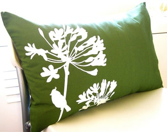 SALE Grass Green Cardinal on Agapanthus Rectangle Pillow