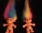 Vintage Rainbow Troll Earrings circa 1990
