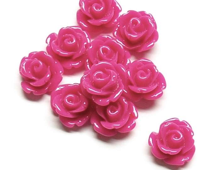 RSCRS-10FS - Resin Cabochon, Rose 10mm, Fuchsia - 10 Pieces (1pk)