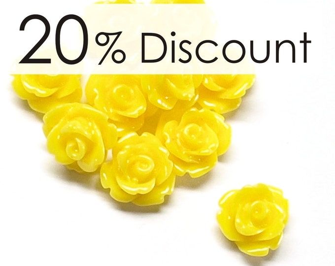 RSCRS-10SN - Resin Cabochon, Rose 10mm, Sunflower - 50 Pieces (5pk)