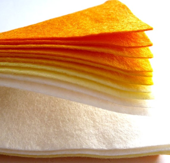 "YELLOWS Premium Wool Blend Felt Pack 10x 6"" squares"