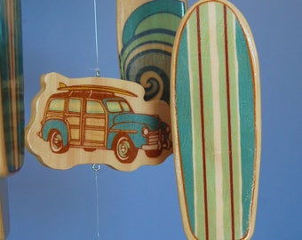Baby Crib Mobile - Surfboard Baby Mobile in Teal with Woody Car and Surfboards for a Surf or Beach Themed Nursery