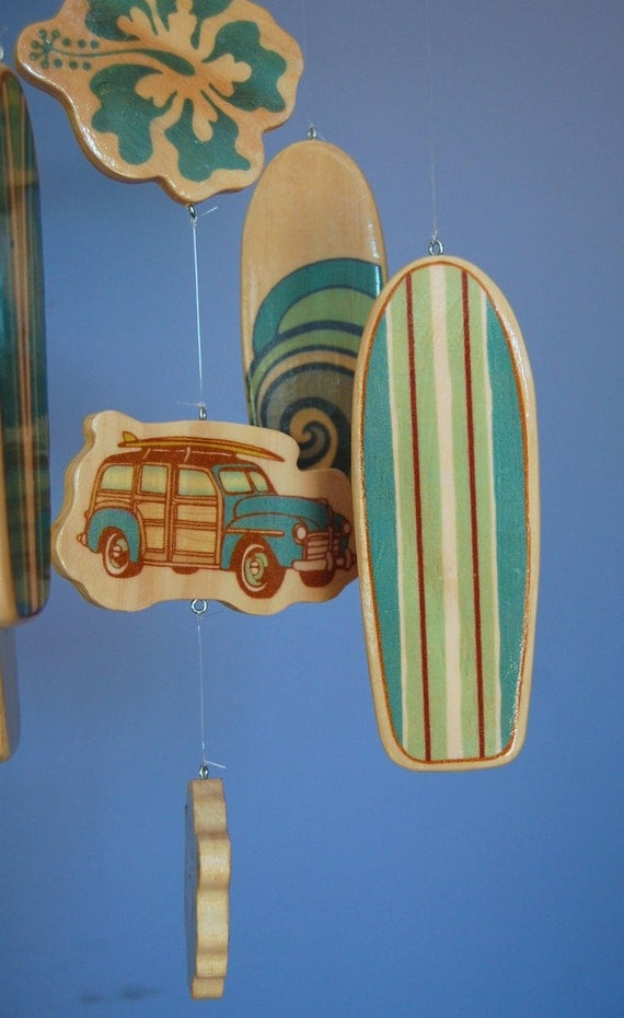 Baby Crib Mobile Surfboard Baby Mobile In Teal With Woody