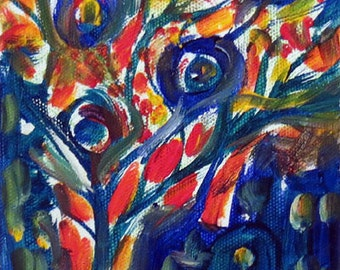 Original Abstract City life energy Tree painting 5 x 7