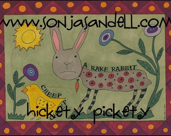 Primitive Folk Art  Painting  Rabbit  Bunny Chick Flowers Child Easter Spring Whimsical  Folkart  to Download by Hickety Pickety