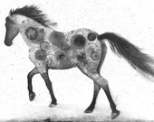 Horse print of my original ink painting, animal painting, ink bubble