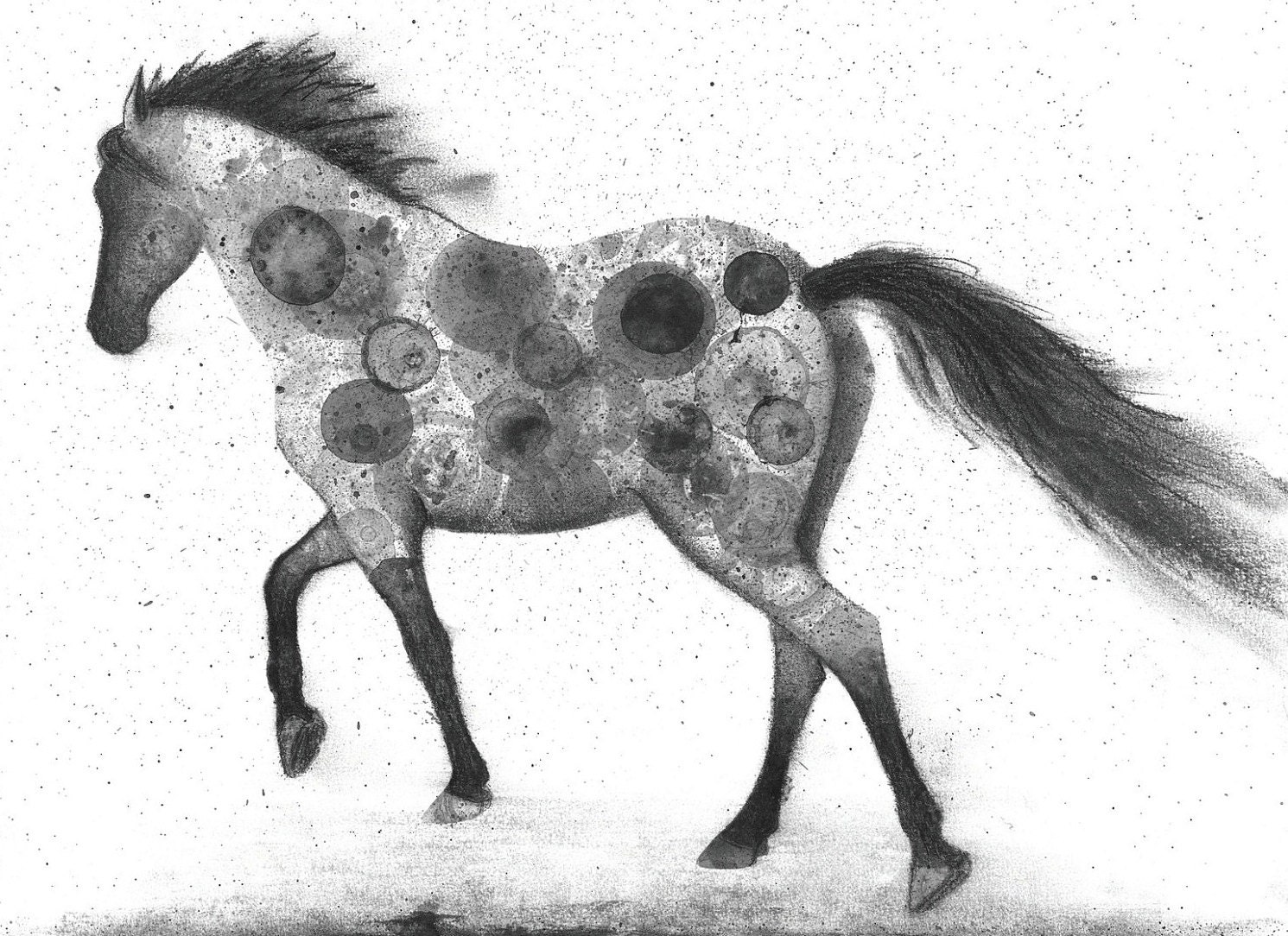 horse print of my original ink painting animal painting ink