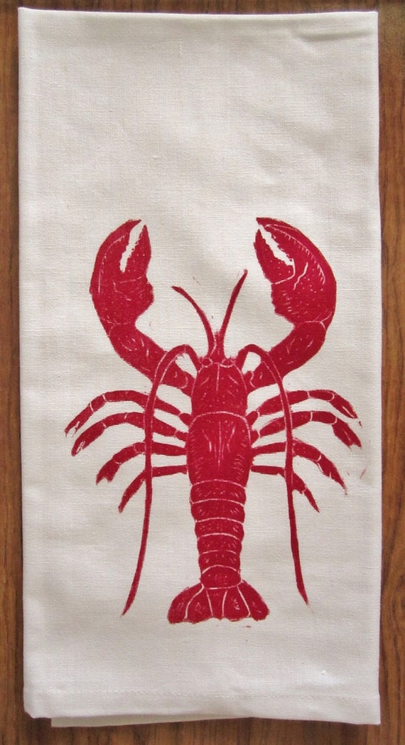 SALE red lobster block print tea towel