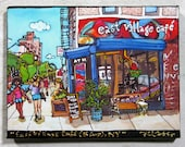 Print on Canvas Giclee, East Village Cafe, NYC, PJ Cobbs Arts, Downtown Manhattan, Cityscape, Hipster, Summer, Shorts