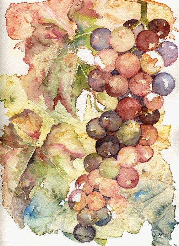 Original Heavenly Grapes Watercolor Painting
