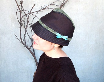 Brown Wool Fedora Hat with Soft Snap Brim and Tweed Accents, Womens Fine Millinery by Modern Independent Designer : Fedora Courant