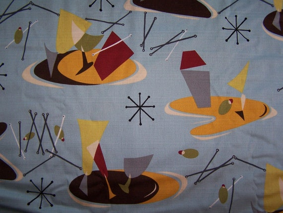 Vintage Inspired Barkcloth Martini Atomic Repro Print Fabric