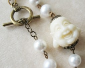 Happy Buddha - White Shell Pearl Coat Bracelet - pulpsushi