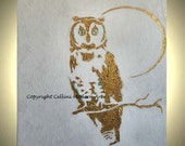 Original Owl Metallic Painting on Stretched Gallery Wrapped Canvas  in Metallic Gold with teal