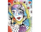 Whimsical Drawing Painting Surreal Colorful Woman Face Eyes Outsider Art