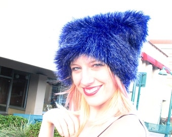 Grizzly Blue faux fur hat Kozy Kitty Hat Electric Blue fuzzy hat women men faux fur hat warm etsybrc raver hat cobalt festival clothing