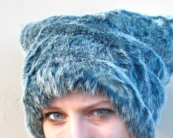 Grizzly Gray Blue faux fur hat fleece lined - Mens Indigo Blue fur hat womens fuzzy fur hat ultramarine and white