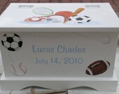 Baby Keepsake Box Chest Memory Box personalized - Sports Theme baby boy gift hand painted