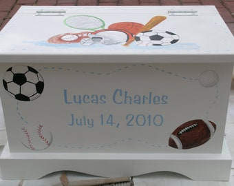 Baby Keepsake Box Chest Memory Box personalized - Sports Theme baby boy gift hand painted