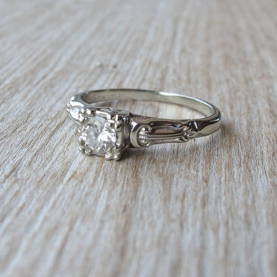 Vintage 1940s 18K White Gold Mine-Cut Diamond Engagement Ring 5.75