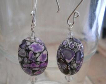 Purple Magnesite & Swarovski Crystal Earrings, Sterling Silver Ear Wires